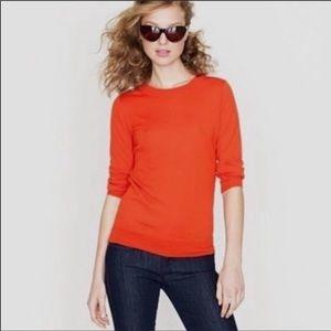 J.Crew Tippi Papaya Color Merino Wool 3/4 sleeve women's sweater SzS